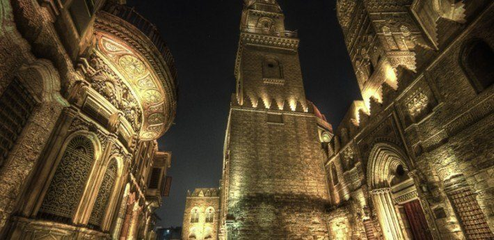Beautifully-lit-Islamic-Cairo